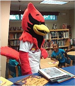 Rockey the Redbird at Woolfolk Library
