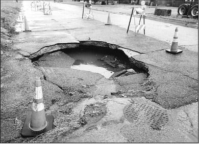 Sinkholes sabotaging city streets