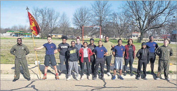 Marine recruits getting into shape